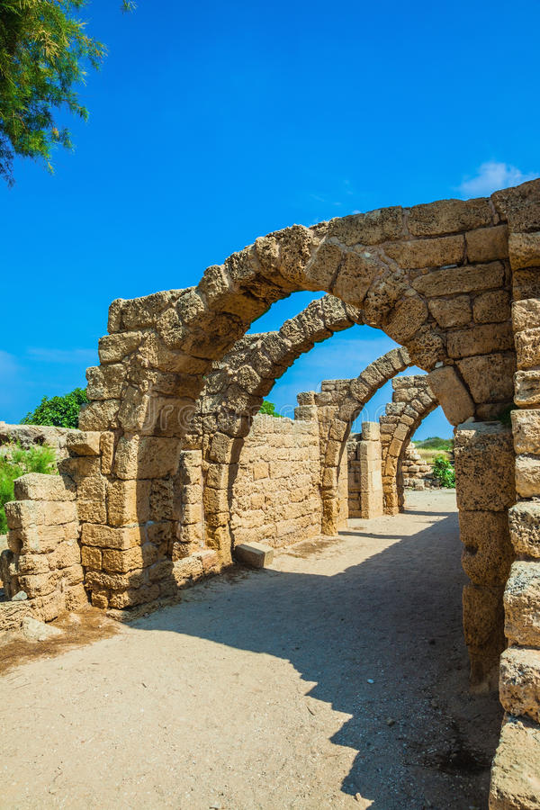 National park Caesarea on the Mediterranean Sea. Arch overlappings of malls of antique times. Israel royalty free stock photography
