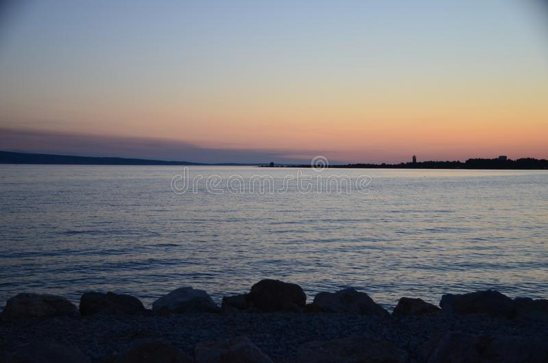 Selina, Croatia, Adriatic Sea, Sunset royalty free stock photography