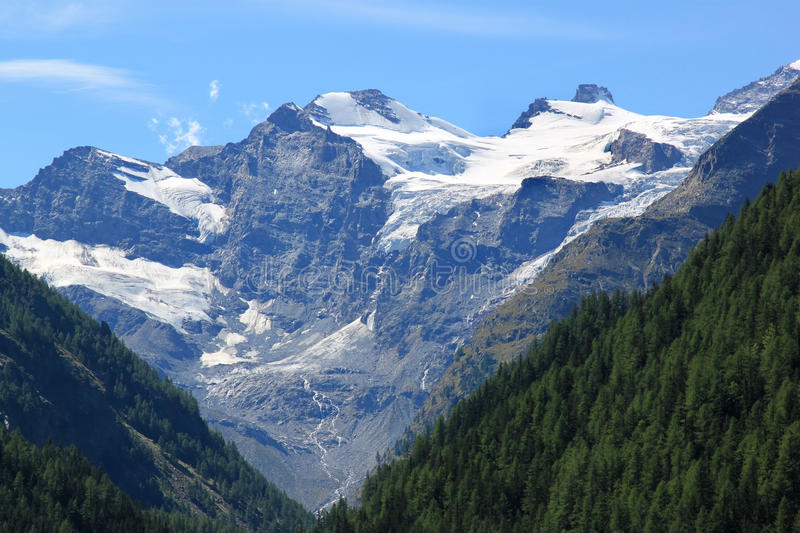 National Park Gran Paradiso, Cogne, Italy. Ice and snow at the high mountains of the Gran Paradiso. Gran Paradiso National Park was the first national park to be stock photo