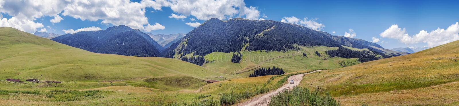 Mountain road on the plateau of Assy. Kazakhstan, Almaty region. stock images