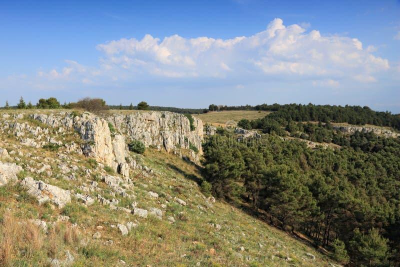National park in Italy. Pulicchio di Gravina - sinkhole in Murge plateau (Altopiano delle Murge). Alta Murgia National Park royalty free stock photo