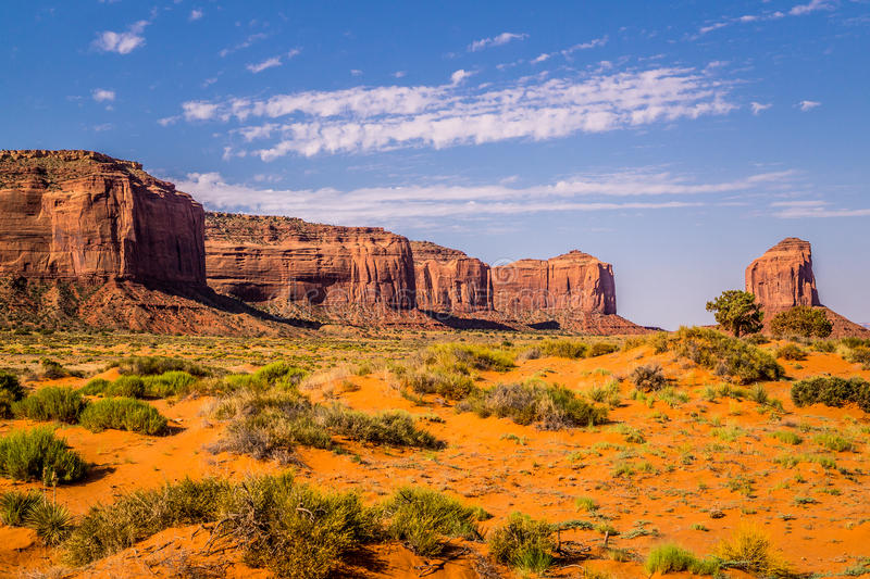 National Park Monument Valley. Navajo reservation area. Monument Valley National Park, Arizona, USA. Reservation of the Navajo. Picturesque stone cliffs in the stock image