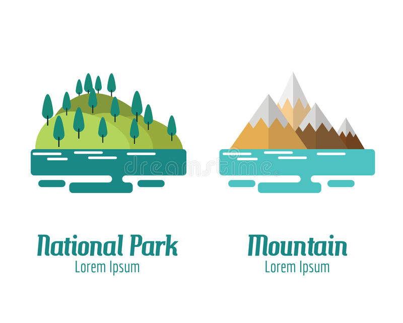 National Park and Mountain landscape. stock illustration