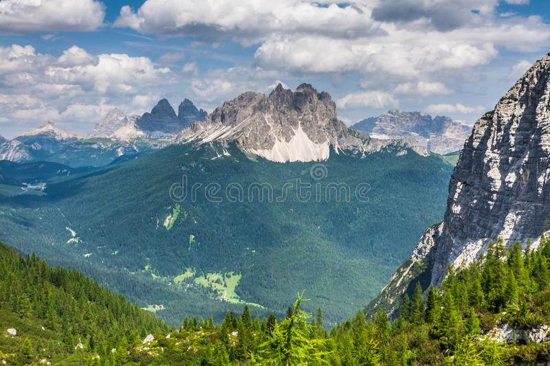 National Park panorama and Dolomiti mountains in Cortina d'Ampez royalty free stock images