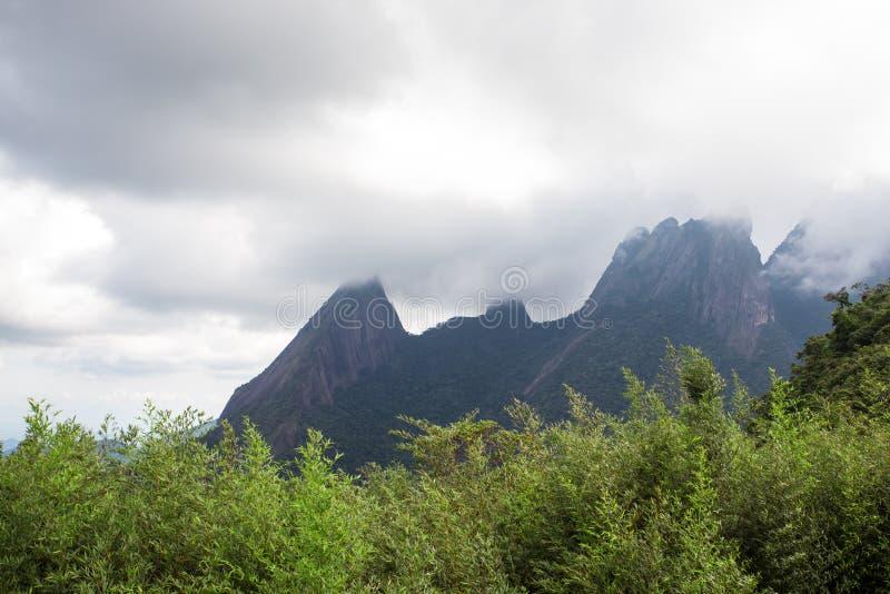 National park Serra dos Orgaos Brazil. Famous peaks of national park Serra dos Orgaos at Brazil royalty free stock photography