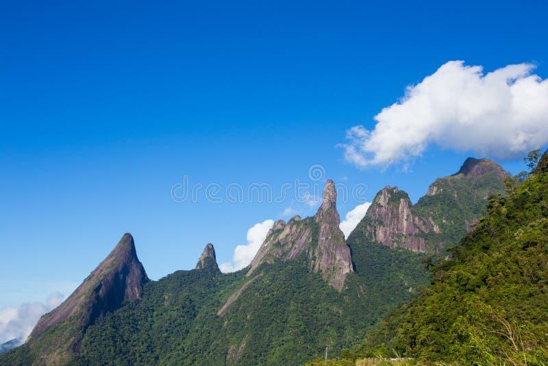 National park Serra dos Orgaos Brazil. Famous peaks of national park Serra dos Orgaos at Brazil stock images