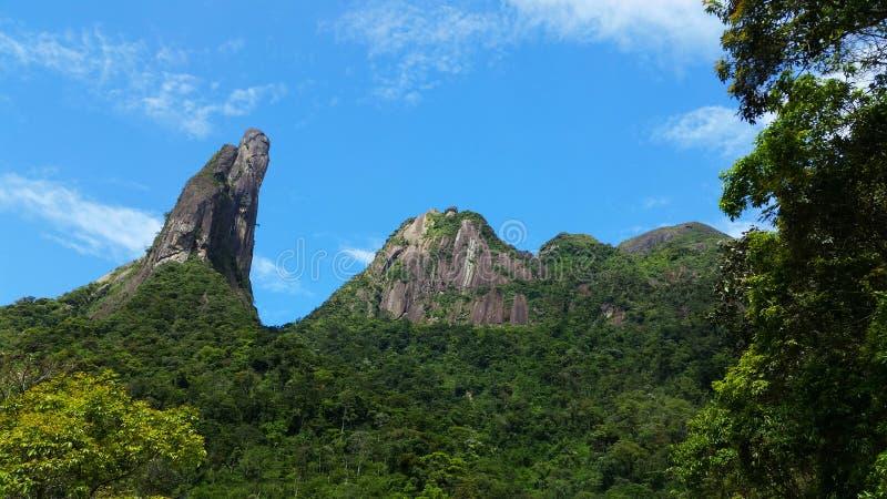 Brazilian mountains. National park Serra dos Orgaos, Brazil Mountains teresopolis finger god, Dedo de Deus stock image