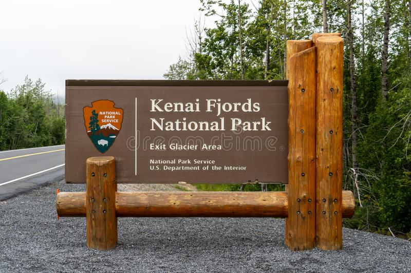 National Park sign for Exit Glacier in Kenai Fjords National Park in Alaska. Sign for Alaska`s Kenai Fjords National Park in the Exit Glacier area stock images