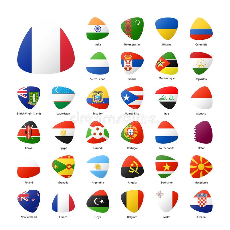 National participants flags of summer sport games in Rio vector illustration