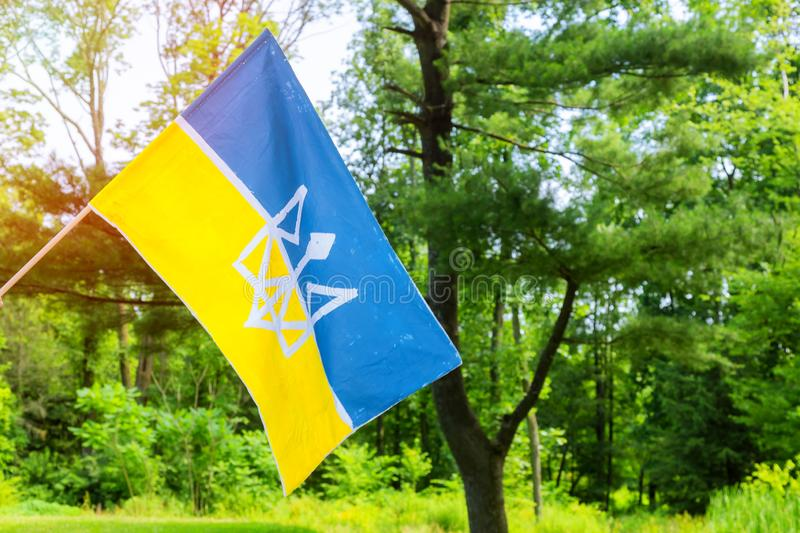 National symbol. Blue-yellow flag of Ukraine. Patriotic sign on outside. National patriotic symbol. Blue-yellow flag of Ukraine on outside, ukrainian, country royalty free stock photography