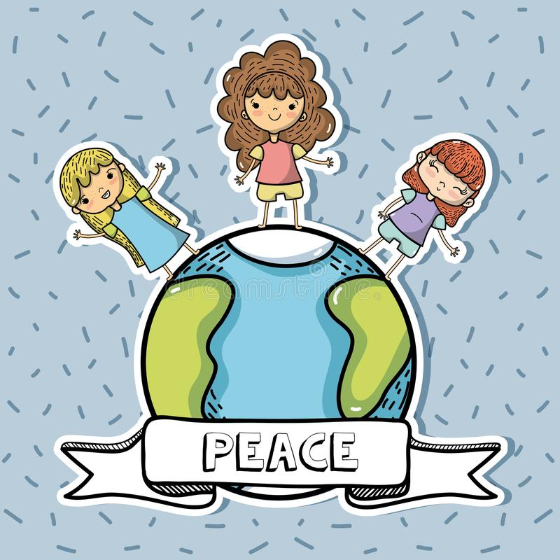 National peace and love day to global harmony royalty free illustration