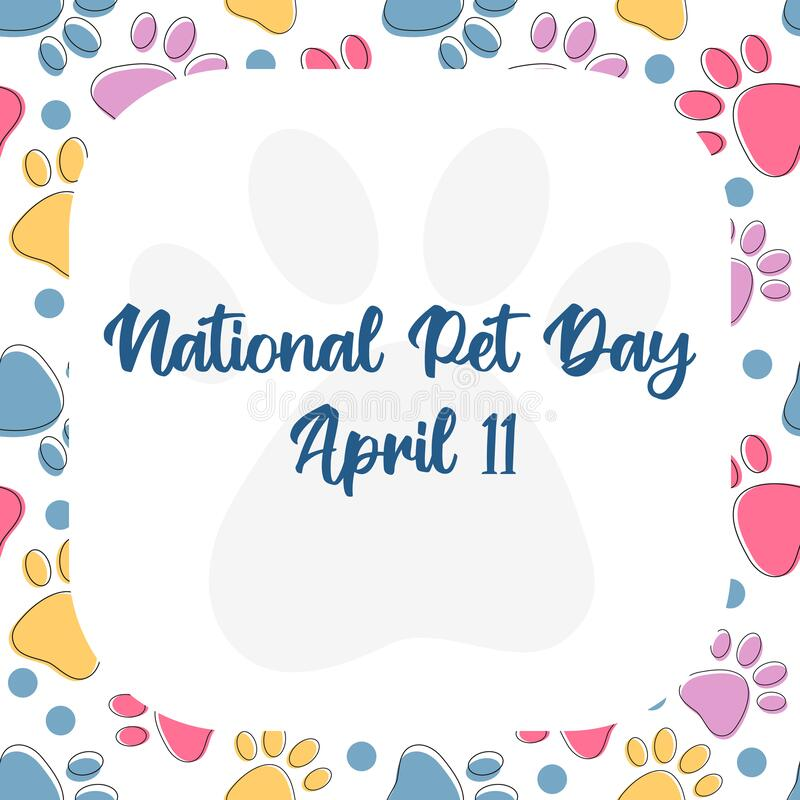 Free National Pet Day At April 11 Greeting Card, Banner, Post, Template With Copy Space Frame. Vector Pattern With Pet Cat And Dog Paw Royalty Free Stock Photography - 215677897