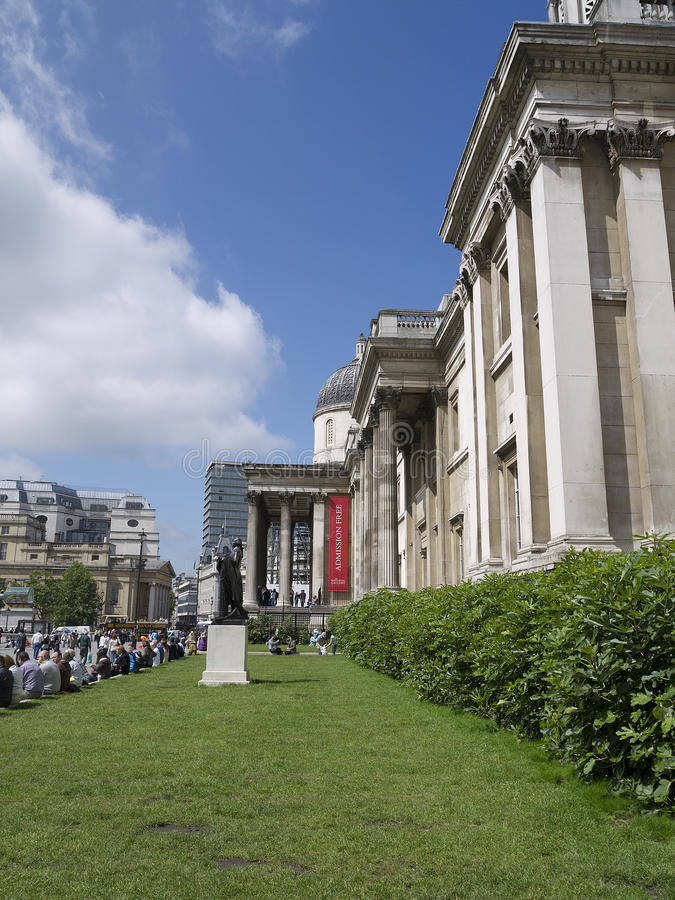 National Portrait Gallery in London England. The crowded streets of London in the summer outside the National Portrait Gallery stock photo