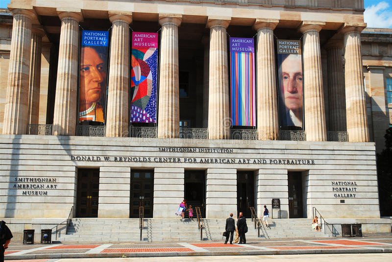 National Portrait Gallery. Part of the Smithsonian, the National Portrait Gallery in Washington DC focuses on paintings and photographs of famous Americans stock photos