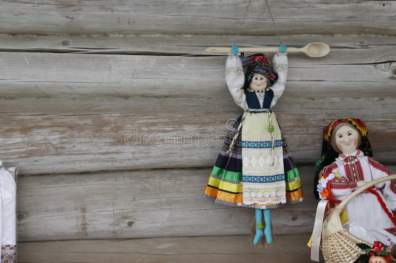 National puppets on wooden background. royalty free stock photo