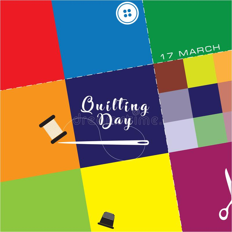 National quilting day. Illustration for national quilting day. Fabric scraps vector illustration