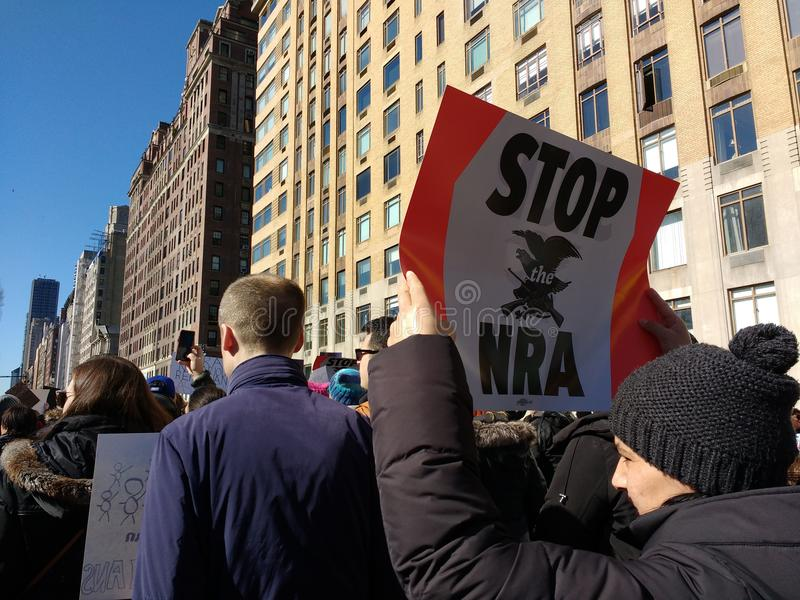 National Rifle Association, Stop The NRA, March for Our Lives, Protest, Gun Control, NYC, NY, USA stock photo