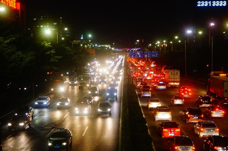 Shenzhen, China: the traffic landscape of the 107 National Road at night. The 107 National Road Traffic landscape at night. In Baoan, Shenzhen, China royalty free stock photos