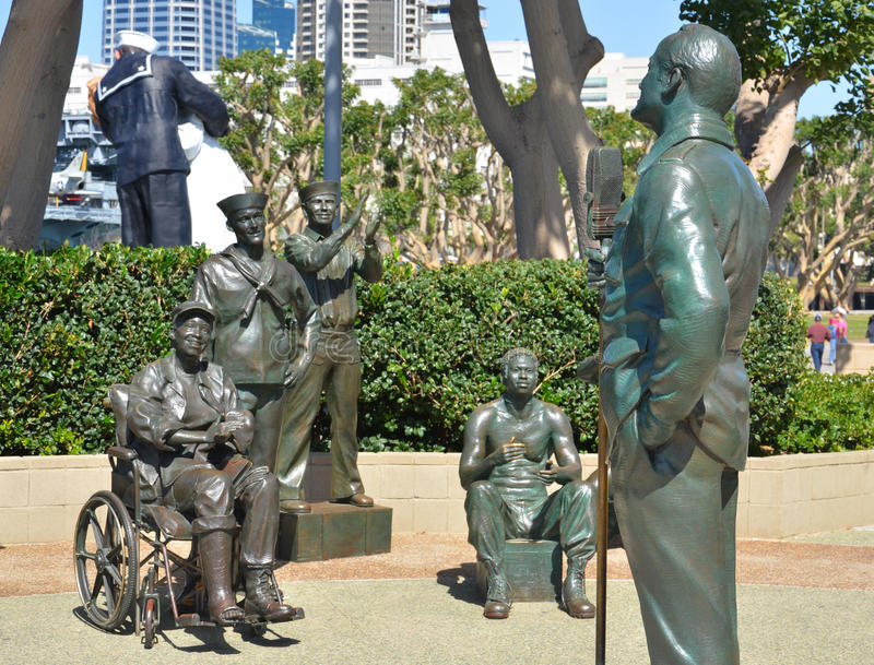 National Salute to Bob Hope. SAN DIEGO CA USA APRIL 8 2015: Bronze statues of A National Salute to Bob Hope and the Military. On the plaza, there are 15 bronze stock photography