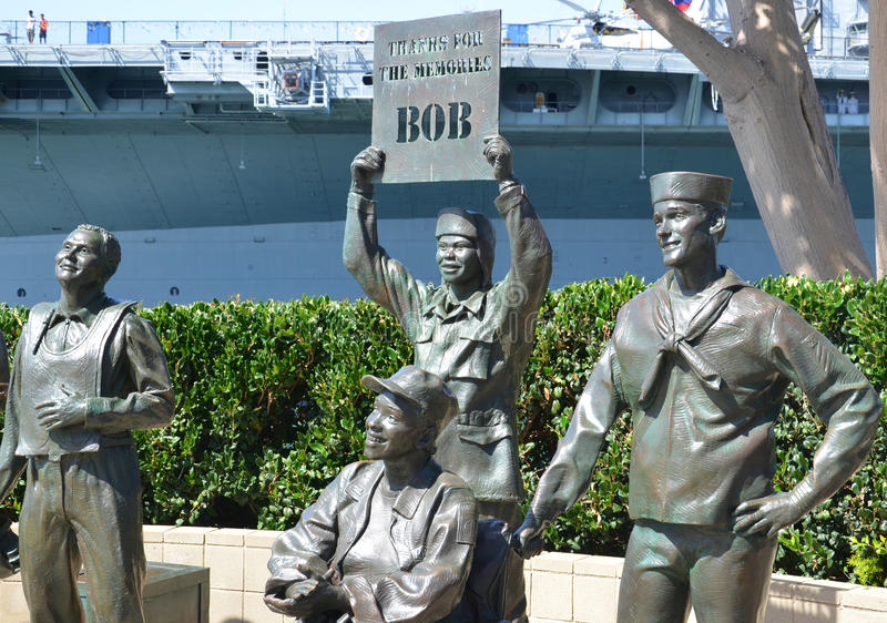 National Salute to Bob Hope. SAN DIEGO CA USA APRIL 8 2015: Bronze statues of A National Salute to Bob Hope and the Military. On the plaza, there are 15 bronze stock image
