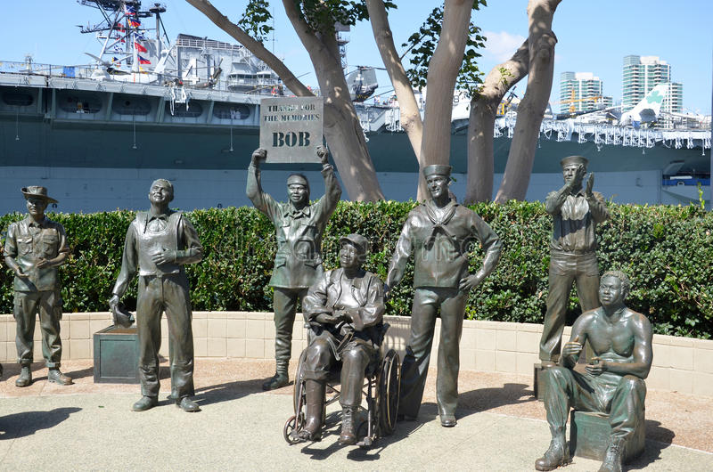 National Salute to Bob Hope. SAN DIEGO CA USA APRIL 8 2015: Bronze statues of A National Salute to Bob Hope and the Military. On the plaza, there are 15 bronze royalty free stock image