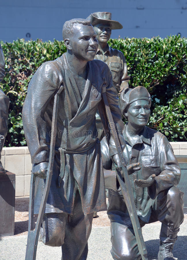 National Salute to Bob Hope. SAN DIEGO CA USA APRIL 8 2015: Detail of the bronze statues of A National Salute to Bob Hope and the Military. On the plaza, there royalty free stock photography