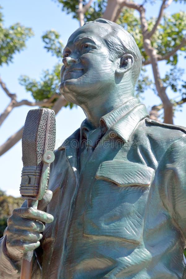 National Salute to Bob Hope. SAN DIEGO CA USA APRIL 8 2015: Detail of the bronze statues of A National Salute to Bob Hope and the Military. On the plaza, there royalty free stock images