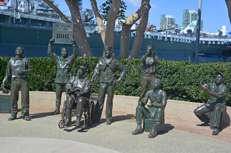 National Salute to Bob Hope. SAN DIEGO CA USA APRIL 8 2015: Detail of the bronze statues of A National Salute to Bob Hope and the Military. On the plaza, there royalty free stock photo