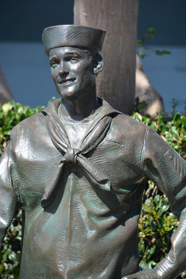 National Salute to Bob Hope. SAN DIEGO CA USA APRIL 8 2015: Detail of the bronze statues of A National Salute to Bob Hope and the Military. On the plaza, there stock photography