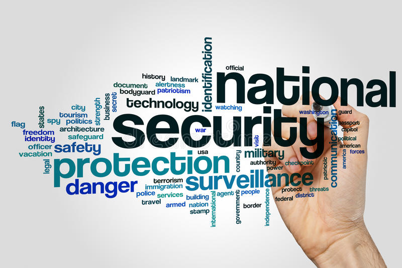 National security word cloud stock photo