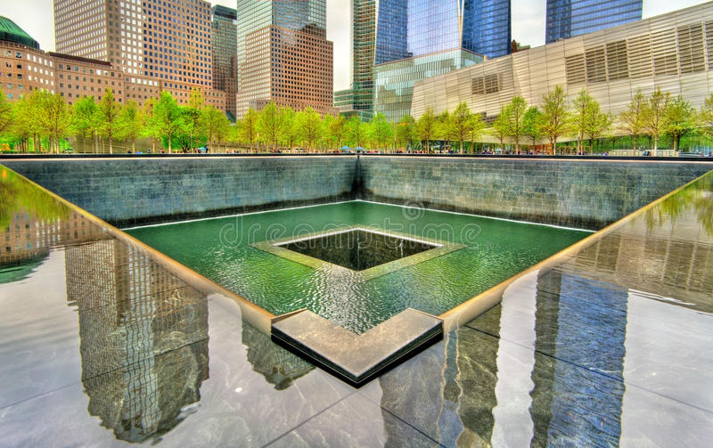 National September 11 Memorial commemorating the terrorist attacks on the World Trade Center in New York City, USA. New York City, United States - May 5, 2017 stock images