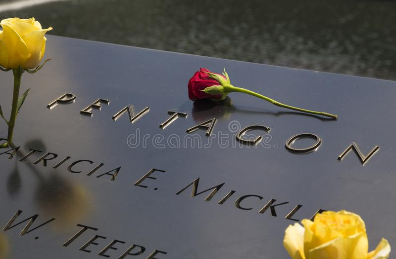 National September 11 Memorial at World Trade Center Ground Zero, New York. The National September 11 Memorial & Museum known separately as the 9/11 Memorial and stock photography