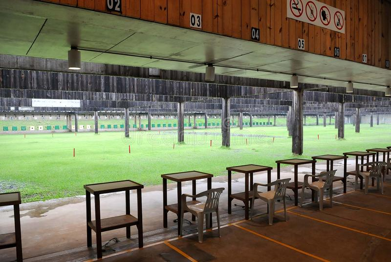 National Shooting Center. Rio de Janeiro, Brazil, April 3, 2013. Stand of the National Shooting Center, located in the Olympic Park of Deodoro in the western royalty free stock photography