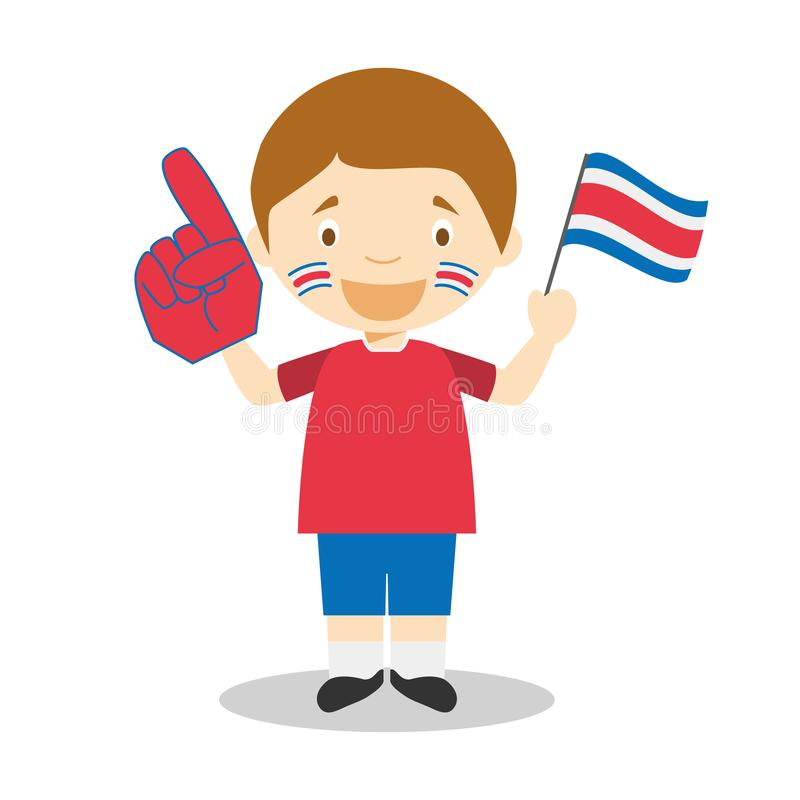 National sport team fan from Costa Rica with flag and glove Vector Illustration. National Supporters Series royalty free illustration