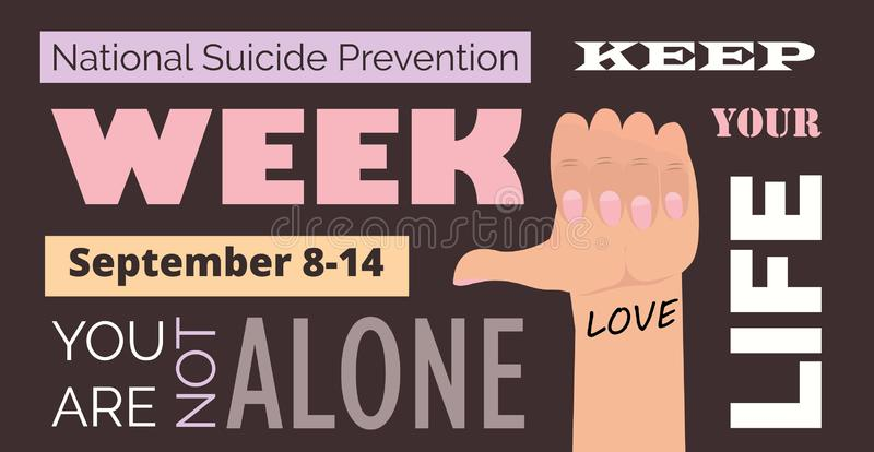 National Suicide Prevention Week in USA. Event is celebrated in September 8-14. National Suicide Prevention Week in USA. Text you are not alone. Event is vector illustration