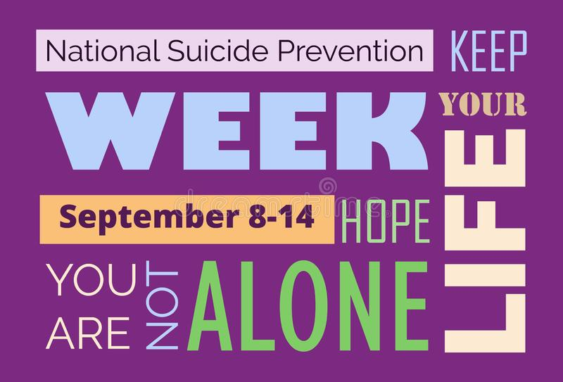 National Suicide Prevention Week in USA. Text you are not alone. Event is celebrated in September 8-14. Cartoon concept vector for web, banner, poster, flyer vector illustration