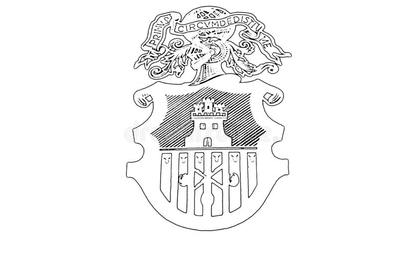 National , symbol, drawing,and other web icon in outline , Monochrome style . Drawingand, spanish, spain, sign, ship, text, sketch, creative, hand, drawn royalty free illustration