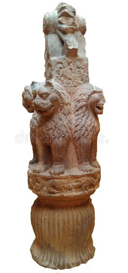 National Symbol of India Lion Capital of Ashoka. National Symbol of India Lion Capital of Mauryan King Ashoka the great in Sanchi World Heritage Site Complex stock photography