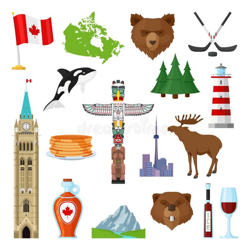 National Symbols Of Canada Set Stock Vector Illustration Of
