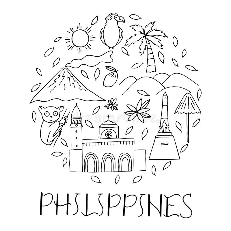 National symbols of Philippines in circle shape. royalty free illustration