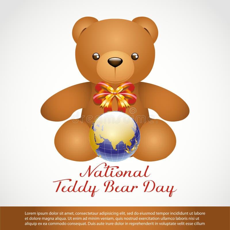 National Teddy Bear Day. Teddy Bear and Globe isolate on White Background vector illustration