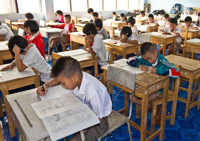 The national test of students in grade 3 stock photos
