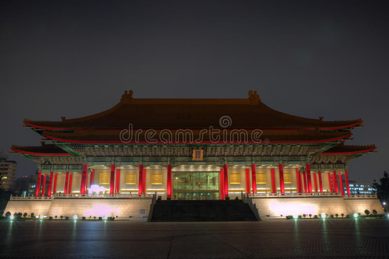 National Theater at dusk in Taipei, Taiwan. National Theater at the Chiang Kai-shek Memorial Hall Square (also known as Liberty Square or Freedom Square) at dusk royalty free stock photography