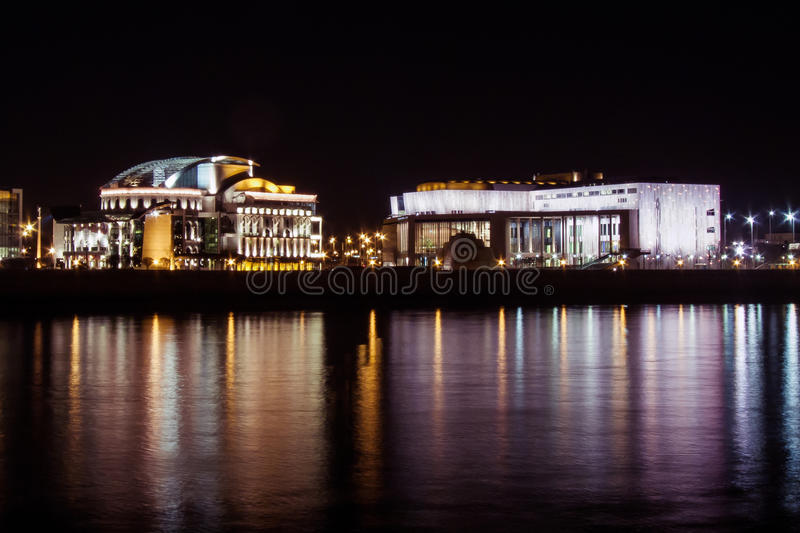 National Theater of Hungary. By night royalty free stock photo