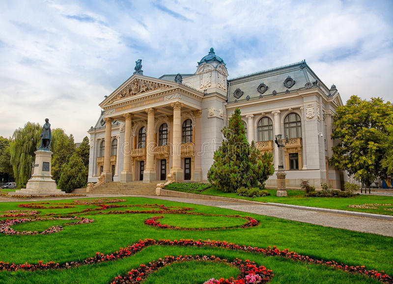 National Theater in Iasi. Cloudy landscape of the National Theather (Vasile Alecsandri) in Iasi city, Romania after restoration in 2015 royalty free stock photos