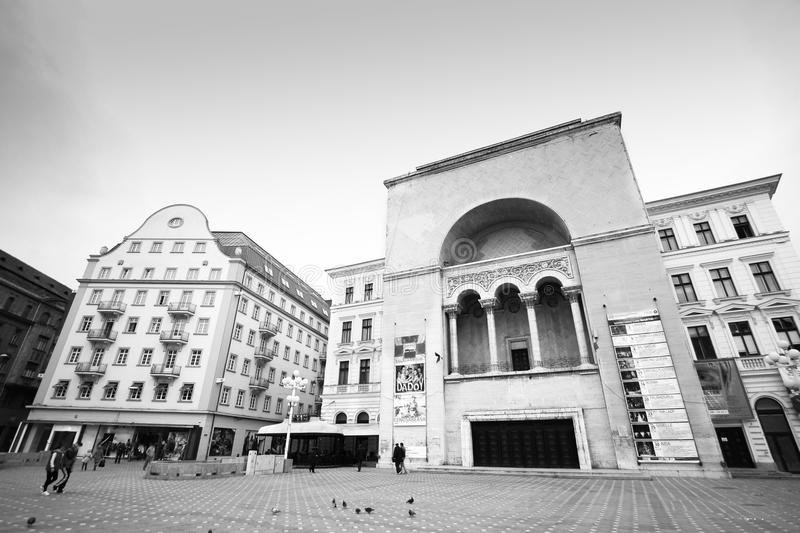 National Theater and Romanian Opera in Timisoara, Timis County, Romania. Black & White cityscape of National Theater and Romanian Opera in Timisoara, Timis royalty free stock photography