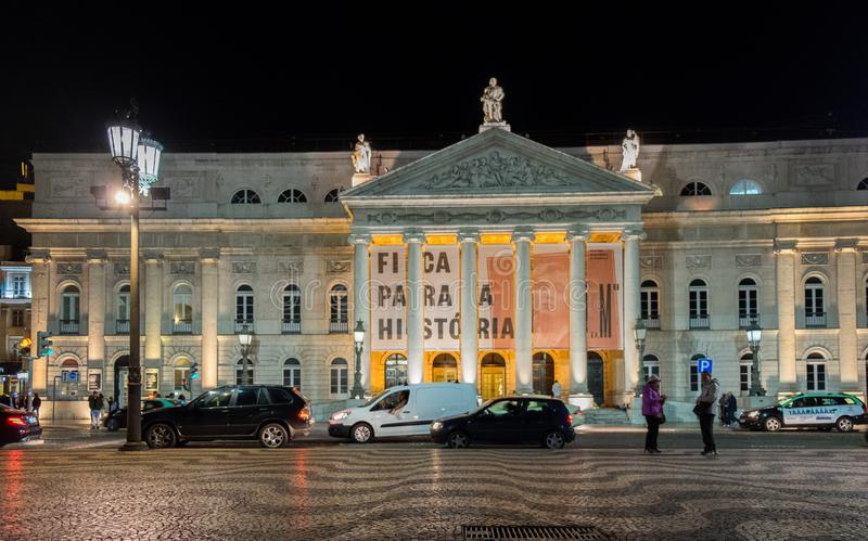 The National Theatre D. Maria II (Teatro Nacional D. Maria II) in Lisbon, Portugal royalty free stock images