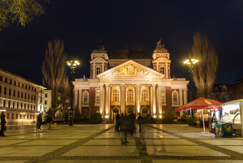 National theatre Ivan Vazov in Sofia night scene. Night scene of National theatre Ivan Vazov in Sofia, Bulgaria royalty free stock images
