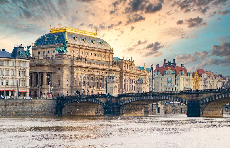 National Theatre in Prague stock images