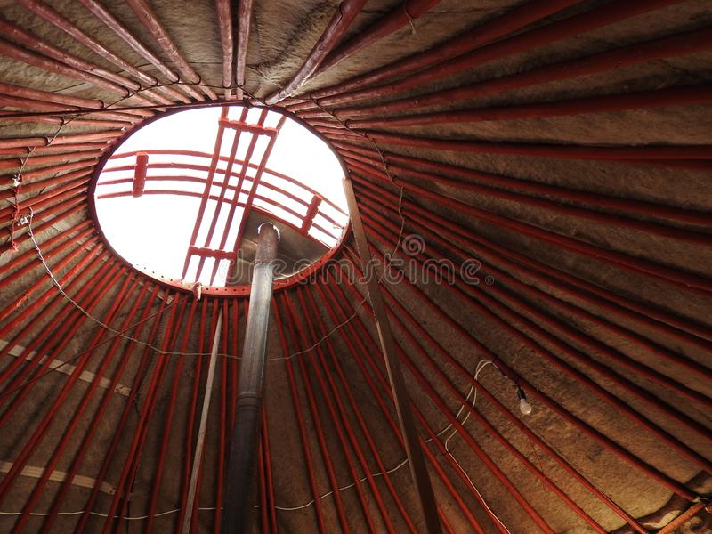 National traditional decoration of the ceiling and walls of the Mongolian Yurt.Vintage weave patterns. The decoration of the Yurt. Wooden frame with patterns stock images